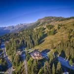 """Prise de vue aérienne de l'hôtel-Restaurant """"La Cambuse"""" à Thyon - Les Collons, Valais / Suisse"""